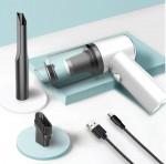 USB Φορητό Μίνι Ηλεκτρικό Σκουπάκι Αναρρόφησης Υγρών / Στερεών 120W με LED Φωτισμό Αυτοκινήτου Επαναφορτιζόμενο PS-108395 Λευκό