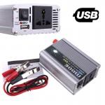 300W Inverter Αυτοκινήτου - Φωτοβολταικών Τροποποιημένου Ημιτόνου 12V σε AC 220V με USB
