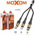 3 Σε 1 USB Καλώδιο Φόρτισης Type-c, Lightning, microUSB - MOXOM 3 in 1 Fast Charge Cable