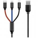 3 Σε 1 USB Καλώδιο Φόρτισης Type-c, Lightning, microUSB - 3 in 1 Fast Charge Cable 3A