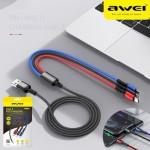 3 Σε 1 USB Καλώδιο Φόρτισης Type-c, Lightning, microUSB - AWEI Multi Charging Cable