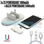3 x Φορητά XS Μαγνητικά Powerbank 1000mAh με Βάση Μπαταρία Φορτιστή 5000mAh 3+1