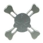 Anti Stress Fidget Spinner - Metallic Skull Four Leaves Silver