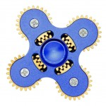 Anti Stress Fidget Spinner - Metal Five Gear Four Leaves Blue