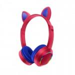 Bluetooth Ασύρματα Ακουστικά Αυτιά Γάτας με Πολύχρωμα Φώτα RGB & Ενσωματωμένο Μικρόφωνο - Wireless Cat Ear Headphones AKZ-K24 Κόκκινο