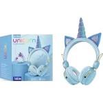 Bluetooth Ασύρματα Παιδικά Ακουστικά On Ear Unicorn με Ενσωματωμένο Μικρόφωνο Γαλάζιο
