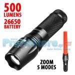 Αδιάβροχος Φακός LED 500 Lumens Υψηλής Φωτεινότητας με Zoom, Κώνο Σήμανσης & 5 Λειτουργίες Φωτισμού