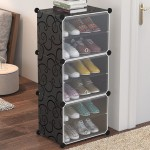 DIY Αυτοσχέδια Ντουλάπα / Παπουτσοθήκη - Σετ 3 Κύβοι με 6 Ράφια - Plastic Storage Cabinet Μαύρο - OEM
