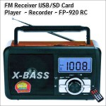 Digital Music Player - Recorder with USB/SDcard - FM Radio - XBass Speaker FP-920-RC