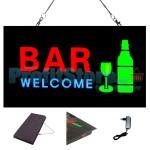 Extra Bright Φωτιζόμενη Διαφημιστική Πινακίδα BAR WELCOME - Επιγραφή LED Epoxy Resin