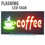 Extra Bright Φωτιζόμενη Αναλαμπών Διαφημιστική Πινακίδα Coffee - Flashing Επιγραφή LED Ταμπέλα
