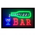 Extra Bright Φωτιζόμενη Διαφημιστική Πινακίδα BAR - Επιγραφές LED με Εφέ Κίνησης Μεγάλη 55 x 33cm