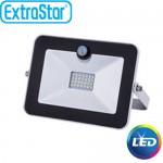 Extra Slim Προβολέας LED ExtraStar 20W με Ψυχρό Φως και Αισθητήρα Κίνησης