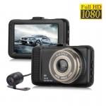 FHD Κάμερα - Καταγραφικό 1080p Αυτοκινήτου με Κάμερα Οπισθοπορείας, Ανιχνευτή Κίνησης, G-Sensor, Oθόνη 3'', Ευρυγώνιο Φακό 170ᵒ, Loop Recording