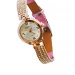 Fashion Woman Watch - Μοντέρνο Γυναικείο Ρολόι με Δερμάτινο Λουράκι με Στρας 2178