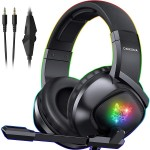 Gaming Headset Over Ear με RGB LED & Μικρόφωνο για PC, Laptop, PS4 & Smartphone Ακουστικά Onikuma K19 - Μαύρο