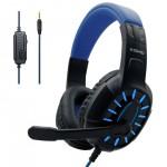 Gaming Ρυθμιζόμενα - Ελαστικά Ακουστικά Κεφαλής με Μικρόφωνο Jack 3,5mm On Ear για Υπολογιστή - Ενσύρματα PC& PS4 Headset Μπλε