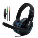 Gaming Ρυθμιζόμενα Ακουστικά Κεφαλής με Μικρόφωνο Jack 3,5mm On Ear για Υπολογιστή - Ενσύρματα PC Headset Μπλε