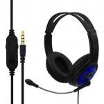 Gaming Ρυθμιζόμενα Ακουστικά Κεφαλής με Μικρόφωνο Jack 3,5mm On Ear για Υπολογιστή - Ενσύρματα PC& PS4 Headset Μπλε