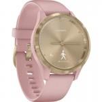 Garmin Vivomove 3S Dust Rose Silicone with Light Gold -  Υβριδικό Smartwatch με Κρυφή Οθόνη Αφής