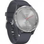 Garmin Vivomove 3S Granite Blue Silicone with Silver -  Υβριδικό Smartwatch με Κρυφή Οθόνη Αφής
