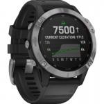Garmin Ρολόι Fenix 6 Solar Silver with Black Band - Smartwatch Ασημένιο με Μαύρο