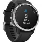 Garmin Ρολόι Fenix 6S Solar Silver with Black Band - Smartwatch Ασημένιο με Μαύρο