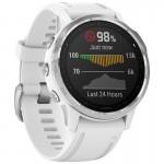 Garmin Ρολόι Fenix 6S Silver with White Band - Ανθεκτικό Smartwatch Ασημένιο με Άσπρο