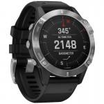 Garmin Ρολόι Fenix 6 Silver with Black Band- Ανθεκτικό Smartwatch Ασημένιο με Μαύρο