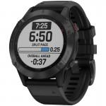 Garmin Ρολόι Fenix 6 PRO Black with Black Band- Ανθεκτικό Smartwatch Μαύρο