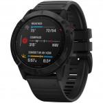 Garmin Ρολόι Fenix 6X PRO Black with Black Band - Smartwatch με Παλμογράφο