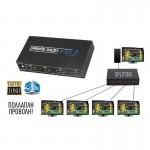 HDMI Splitter 1080P 3D Τεσσάρων Εξόδων με Τροφοδοτικό