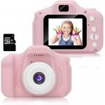 HD Ροζ Μίνι Ψηφιακή Παιδική Φωτογραφική Μηχανή / Κάμερα - Επαναφορτιζόμενη USB Kids Camera Toy για Παιδιά
