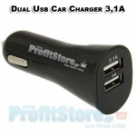 High Power Dual Car USB Charger 3,1A for iPhone, iPad & Android Tablets