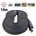 High Speed HDMI 1.4 3D καλώδιο με Ethernet - 10m Flat Heavy Duty 1080p Full HD Gold Plated