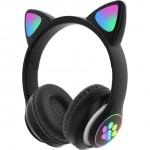 LED Bluetooth Ασύρματα On-Ear Ακουστικά Αυτιά Γάτας με Εναλλασσόμενο Φωτισμό - Wireless Cat Ear Headphones Μαύρο