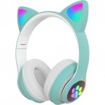 LED Bluetooth Ασύρματα On-Ear Ακουστικά Αυτιά Γάτας με Εναλλασσόμενο Φωτισμό - Wireless Cat Ear Headphones Πράσινο
