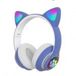 LED Bluetooth Ασύρματα On-Ear Ακουστικά Αυτιά Γάτας με Εναλλασσόμενο Φωτισμό - Wireless Cat Ear Headphones Μπλε