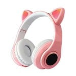 LED Bluetooth Ασύρματα Cat Ear P39M Ακουστικά Αυτιά Γάτας με Εναλλασσόμενο Φωτισμό - Wireless Cat Ear Headphones Ροζ