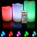 LED Φωτιζόμενα Κεριά - Σετ 3τμχ με Τηλεχειριστήριο