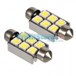 LED Αυτοκινήτου Σωληνωτό Festoon C5W 36mm 6x SMD 5050 CAN BUS - 2 τεμάχια