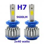 LED Φώτα Αυτοκινήτου H7 6000K 9600LM (2x4800) 80W (2x40W) CAN BUS 12-24V