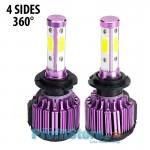 Τετράπλευρα Φώτα - Λαμπτήρες LED Αυτοκινήτου H7 12000LM (2 x 6000Lm) 120W (2 x 60w) 6000Κ - 4 Sides 360 Μοίρες