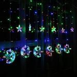 LED Χριστουγεννιάτικα Φωτάκια Ασύμμετρη Κουρτίνα 3μ με Φεγγάρια & Αστέρια   LED Christmas Lights Stars On Moons