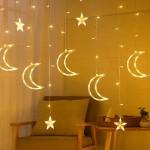 LED Χριστουγεννιάτικα Φωτάκια Ασύμμετρη Κουρτίνα 3μ Με Αστέρια & Φεγγάρια LED Christmas Lights Stars On Moons