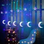 LED Χριστουγεννιάτικα Φωτάκια Ασύμμετρη Κουρτίνα 3μ Με Αστέρια & Φεγγάρια RGB πολύχρωμο LED Christmas Lights Stars On Moons