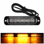 Led Φάρος Slim 18w με 6 led 12/24V Πορτοκαλί – Amber Flash Light Bar Car