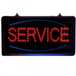 Led Φωτιζόμενη Διαφημιστική Πινακίδα SERVICE με Αλυσίδα - Μπλε, Κόκκινο Χρώμα