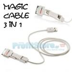 Καλώδιο 3 σε 1, mUSB, Lighting & 30pin για Κινητά Τηλέφωνα & iPhone 3/4/4s/5/5s/5c/6/6plus