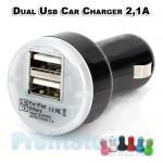 Mini High Power Dual Car USB Charger 2,1A for iPhone, iPad & Android Tablets
